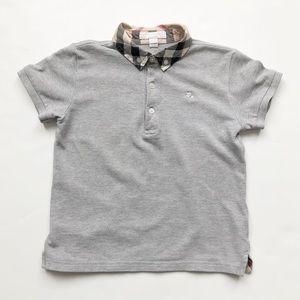 Burberry grey collared short sleeve top